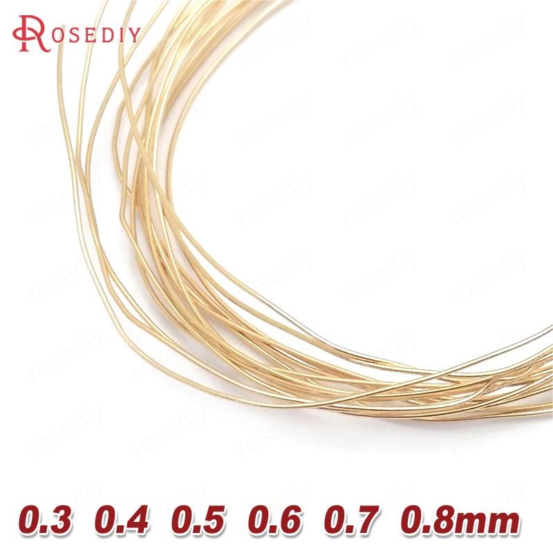 Латунная металлическая проволока 24 к золотистого цвета, 5 метров, 0,4 мм, 0,5 мм, 0,6 мм, 0,7 мм, 0,8 мм