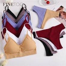 FINETOO – ensemble soutien-gorge et culotte pour femmes, Sexy, string, Push-Up, sport, string, Lingerie, Fitness