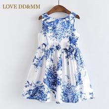 Aşk DD & MM kız elbise 2020 yeni çocuk giyim kız tatlı üç boyutlu çiçekler mavi ağaç baskı yelek elbise
