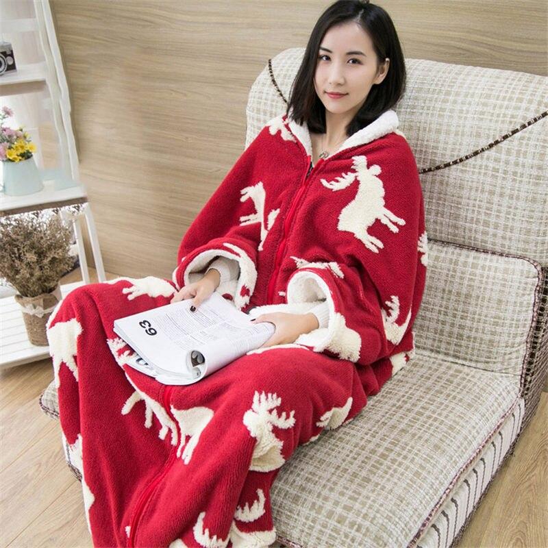 Mmultifunción de una pieza de pijama manta chal capa con manga gruesa caliente edredón ropa de casa señora invierno franela ropa de dormir f2058