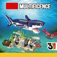 388 pçs criador 3in1 engrenagem tubarão modelo blocos de construção do mar profundo criaturas cidade clássico tijolos kit crianças brinquedos para crianças presentes