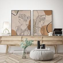 Mythology Goddess Abstract Print Postres Wall Art Greek Woman Line Drawing Pictures On Canvas For Boho Livingroom Home Decor