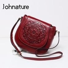 Johnature Retro First Layer Cow Leather Women Bag Leisure Handmade Embossed Versatile Large Capacity Shoulder & Crossbody Bags