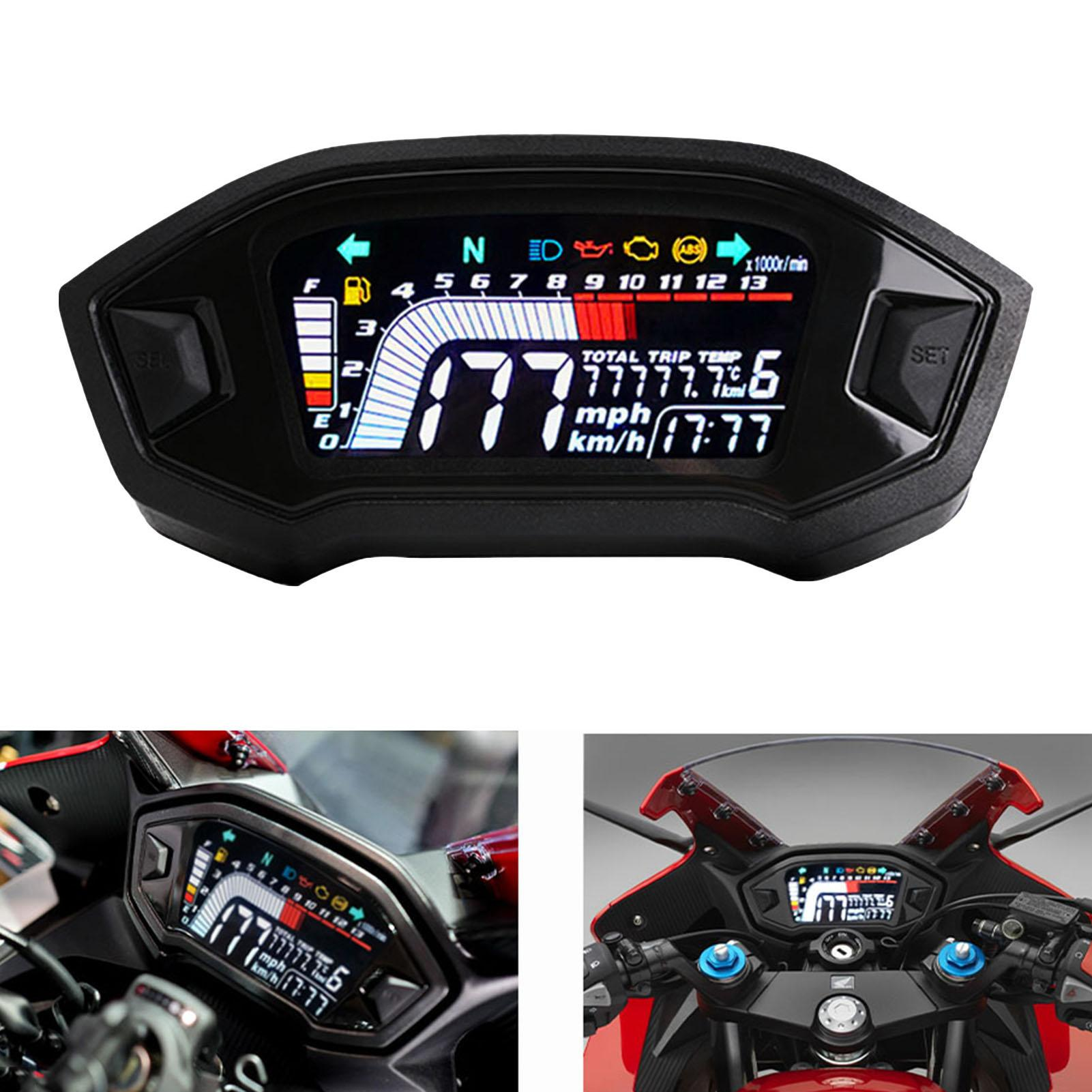 Universal LCD Digital Motorcycle Speedometer Odometer Gauge for 2/4 Cylinder Motorcycle Replacement Parts
