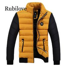 Rubilove 2019 New Snow Winter Coat Men Cotton Thickening Cold Stand Collar Fleece Warm Parkas Jacket Mens Casual Hot Overcoat Me