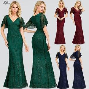 Image 2 - Sexy Sparkle Maix Dress For Women Short Sleeve V Neck Sequined Ladies Evening Party Dress Elegant Bodycon Dress Robe Femme 2020