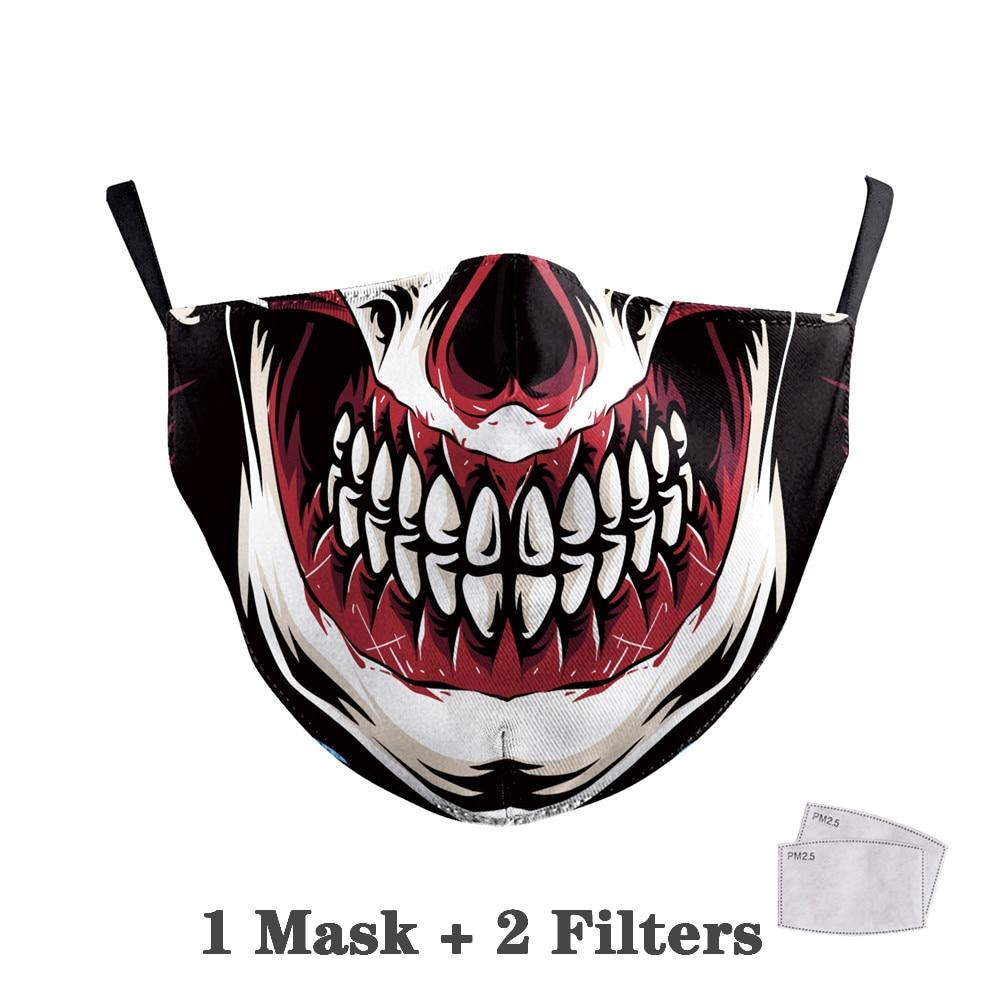 Washable Big Mouth Skull Face Masks 16
