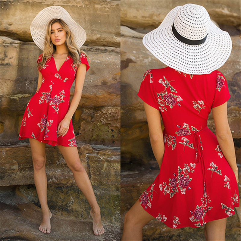 Fashion Hot Womens Boho Beach Summer sundress Casual Party Cocktail Short Sleeve Floral Dress elegant  v-neck Sundress