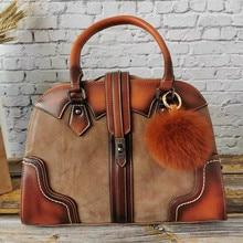 ريترو جلد طبيعي حقيبة يد فاخرة النساء حقائب مصمم المتشرد قدرة عالية حمل حقيبة كتف السيدات الإناث 2019 Bolsas الأنثوية