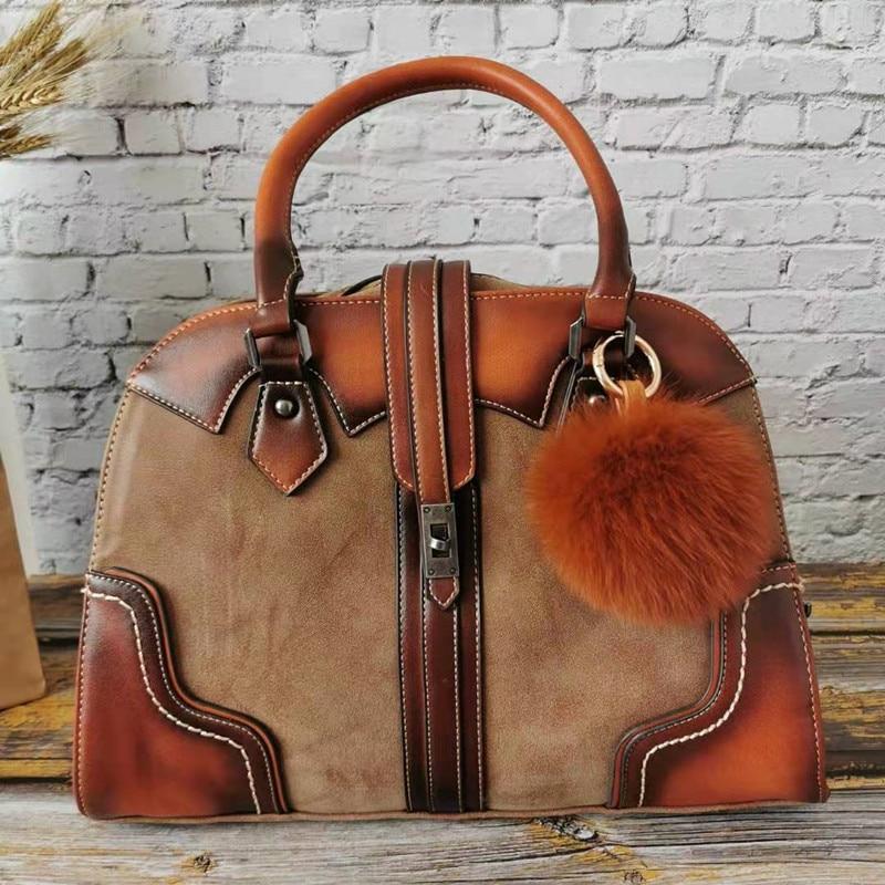 Retro Genuine Leahter Luxury Handbag Women Bags Designer Hobo High Capacity Tote Ladies Shoulder Bag Female 2019 Bolsas Feminina