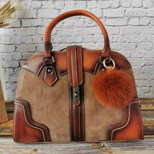 Image 1 - Retro Genuine Leather Handbag Luxury Women Hobo Bags Designer High Capacity Tote Ladies Shoulder Bag Female 2019 Bolsas Feminina