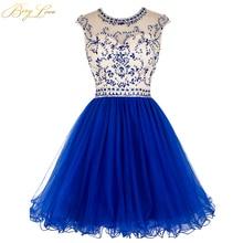 BeryLove, королевское Синее Короткое платье для выпускного вечера,, лиф со стразами, юбка с рюшами, цветное короткое платье для девочек, платье для выпускного вечера