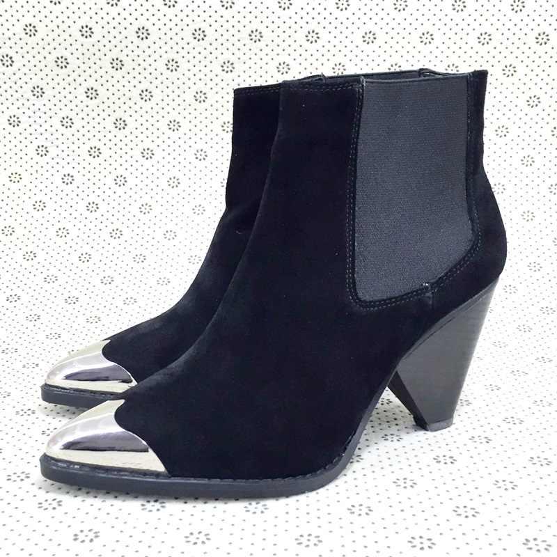 ออกแบบแบรนด์สีแดงสีดำโลหะชี้ toe หนังข้อเท้ารองเท้าบูท spike ส้นสูงรองเท้าสตรี slip-บนรันเวย์คาวบอยรองเท้าสำหรับสตรี