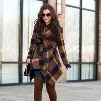 Winter Women Solid Lapel Woolen Coat Thick Warm Sashes Asymmetrical Hem Cardigan Coat Vintage Plaid Ladies Fashion Overcoat D40
