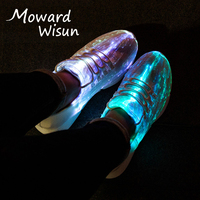 Luminous Fiber Optic Fabric Light Up Shoes Adult&Kids Children LED Shoes for Girls Boys USB Charge Glowing Sneakers with Lights