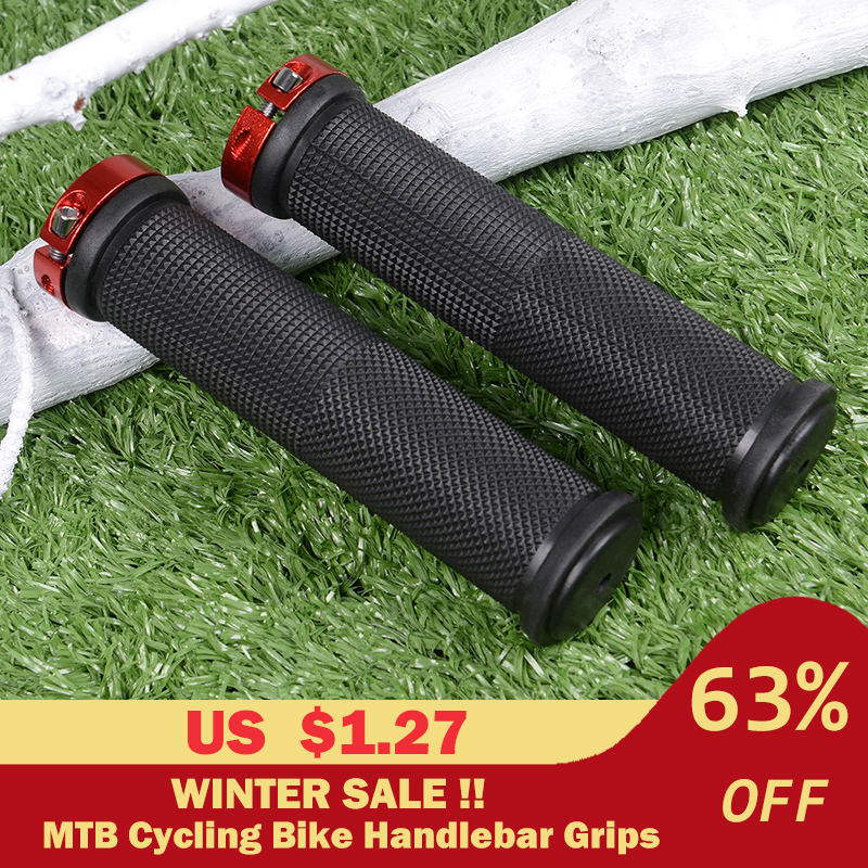 1 Pair Bicycle Handlebar Cover Grips Rubber Soft Anti-Skid Cycling Bike Grips MTB Mountain Road Bike Lock On Handle End Grips