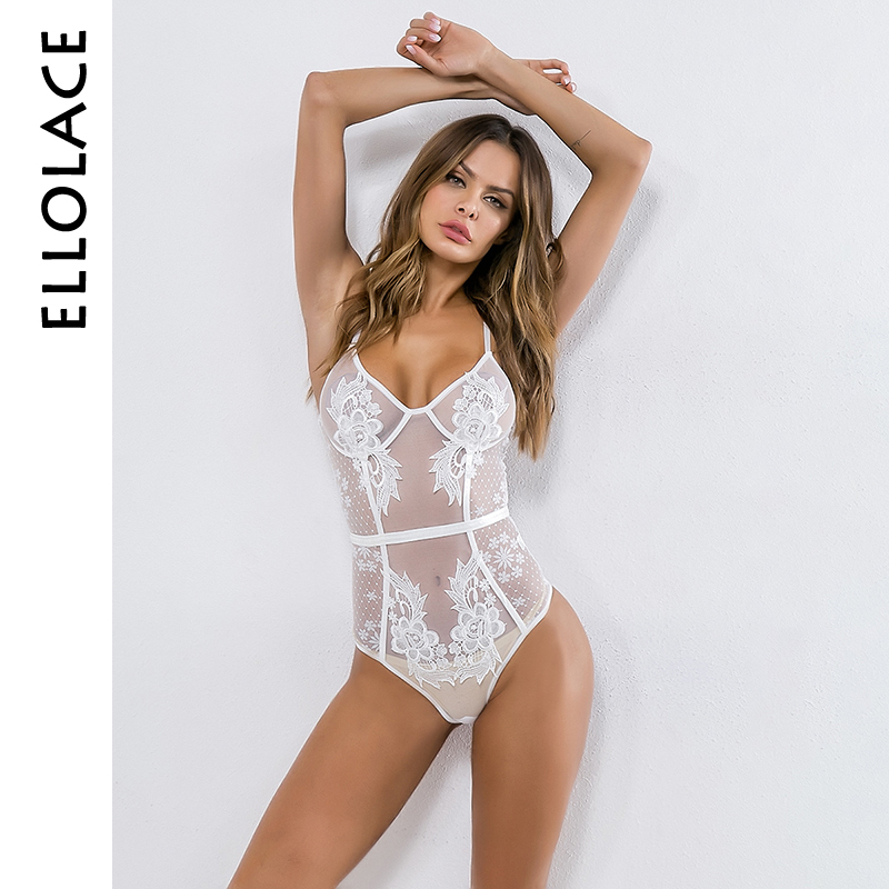 Ellolace White Mesh Lace Body Women Transparent Bodysuit Flower Embroidery Female Fitness Bodycon Slim Sexy 2019 Overalls Basic