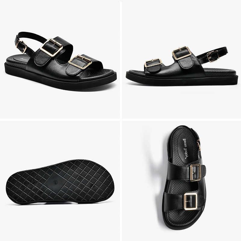 BeauToday sandalet kadın hakiki inek deri Metal detaylı ayak bileği toka kayış yaz plaj bayanlar düşük topuk ayakkabı el yapımı 38128