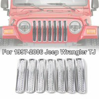 7pcs Silver Front Grilles Cover Trim Protector High Quality For Jeep Wrangler TJ 1997 2006 Auto Exterior Front Grill Cover Trims