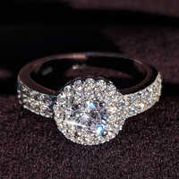 original design classic pave setting 925 Sterling Silver Women Wedding Engagement Rings For halo finger ring gifts Jewelry R783