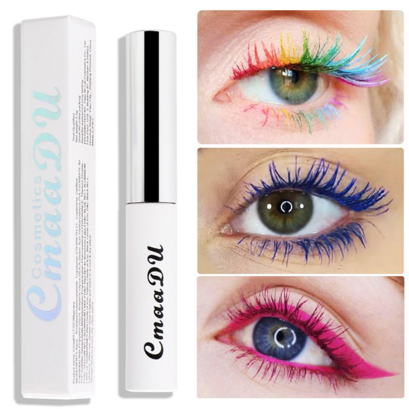 2020 CmaaDU Color Mascara Waterproof Long-lasting Curling Lengthening Makeup Blue Green Red Black White Color Make Up TSLM2