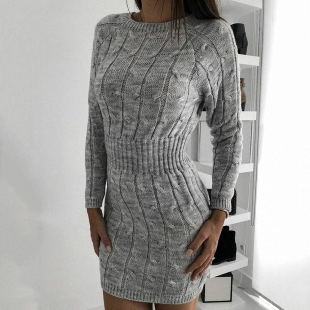 2019 Vestido de punto para mujer otoño Otoño Invierno Vintage vestido de Jersey delgado de manga larga de punto vestidos ajustados ropa mujer D30