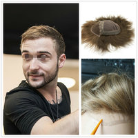 Hstonir Fashion Men Wig Mono Lace With Swiss Lace In Front For Males Indian Remy Hair System Prosthetics H051