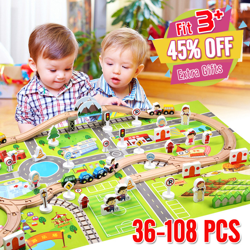 DIY Wooden Train Track 36-108 PCS Traffic Set Magnetic Car Model Slot Puzzles Wooden Railway Early Educational Toy For Children