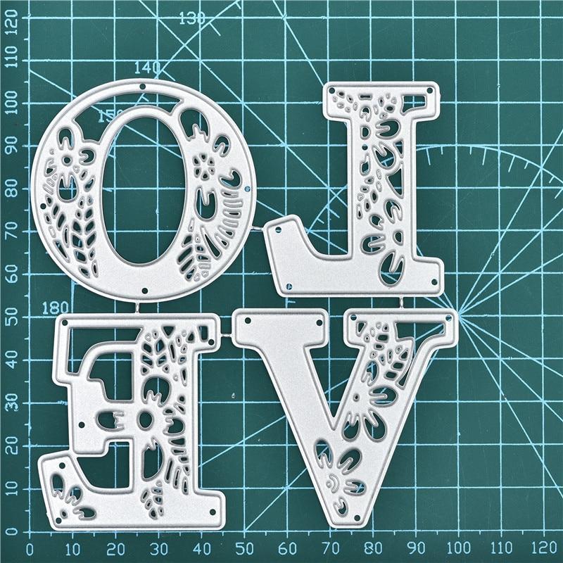 DiyArts Floral Letter Dies Love Dies For Card Making Cutting Dies 2019 Craft Dies Scrapbooking Embossing Stencil Die Cut Decor