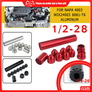 Image 1 - 11Pcs 1/2 28 5/8 24 Fuel Filters Fuel Trap Solvent Filter 1X6 For NAPA 4003 WIX 24003 6061 T6 Automobiles Filters Parts Black SR