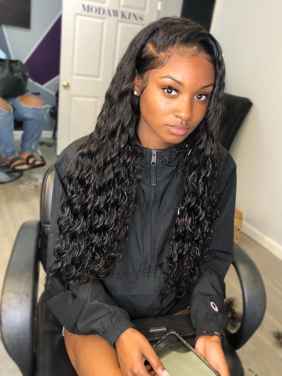 Вьющиеся Синтетические волосы на кружеве парик глубокая вода волна парик человеческих волос парики для чернокожих Для женщин 13x4 Hd фронталь...