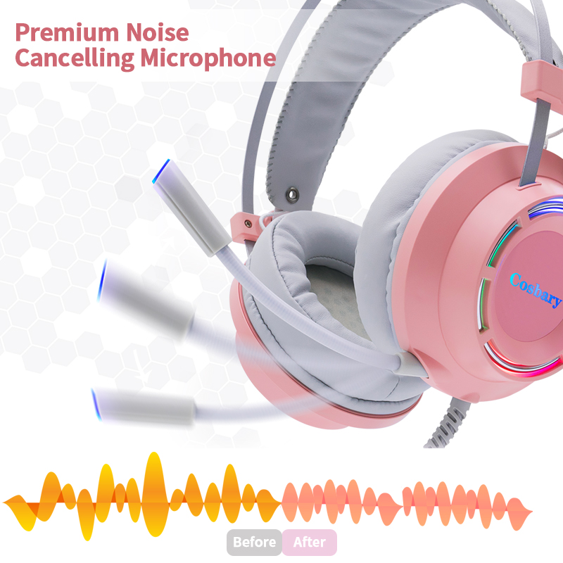 lowest price Pink Headphones Gaming Headset Wired with Microphone Professional Gamer 7 1 Surround Sound RGB Light for PC Computer Xbox One