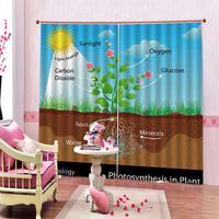 Fotossíntese árvore na planta cortina digital impressão para sala de estar quarto blackout janela cortinas decoração define 2 painéis com ganchos