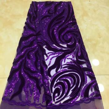 Madison African Velvet Lace Fabric With Sequins Nigerian French Velvet Lace Fabric High Quality Sequined Velvet For Wedding Dres