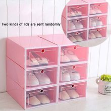 6Pcs Plastic Shoe Box Stackable Foldable Shoe Organizer Drawer Storage Case with Flipping Clear Door Ladies Men 33.5x23.5x13cm цена