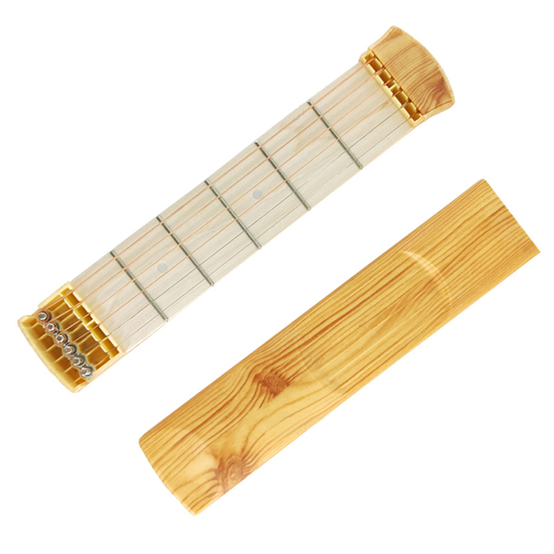 Wooden Pocket Guitar 6 Fret Portable Guitar Practice Tool Gadget For Beginner Chord Trainer Chord Fingering Pratice Tool in Guitar from Sports Entertainment