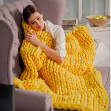 WOSTAR Modern Fashion Hand Chunky Knitted Blanket Modern art Winter Soft Warm bed Sofa Cover Blanket цена 2017