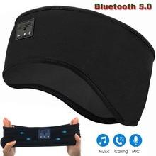 JINSERTA Bluetooth 5.0 이어폰 수면 마스크 핸즈프리 용 마이크가있는 무선 스포츠 헤드 밴드 소프트 뮤직 헤드셋