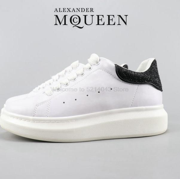 Alexander McQueen Alexander McQueen 3M riflettente gli uomini e le donne con la suola spessa scarpe bianche scarpe casual formato 35-44 nero paillettes 1