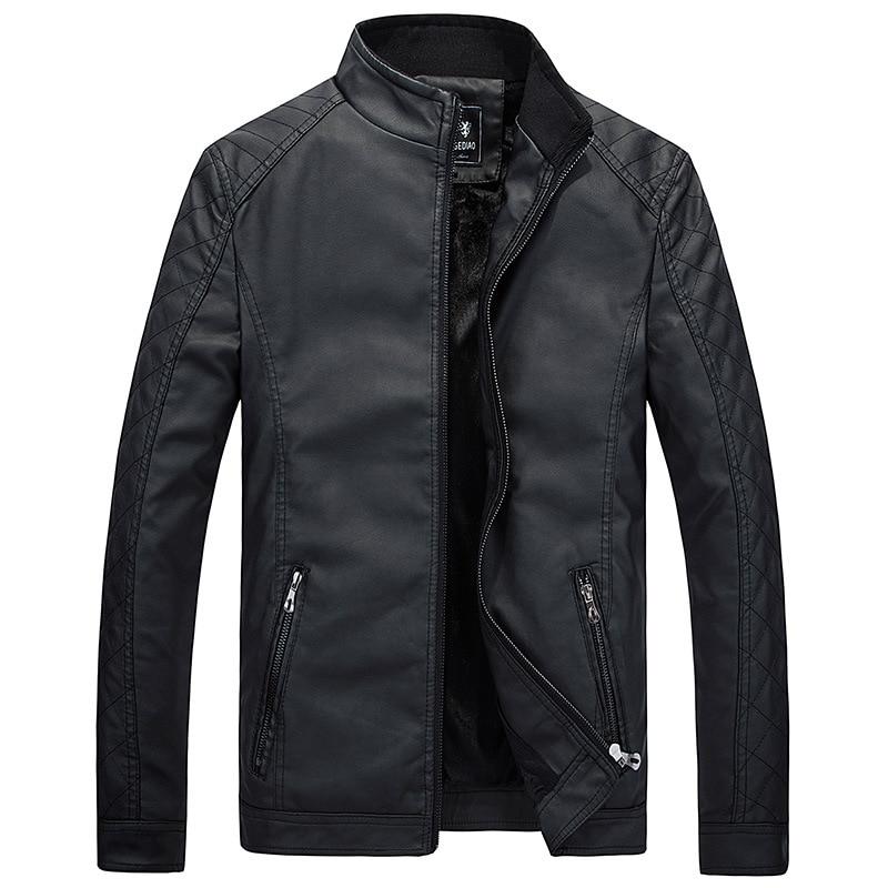 Brushed Autumn MEN'S Leather Coat Korean-style Stand Collar Slim Fit PU Leather Fashion Man Locomotive Leather Jacket
