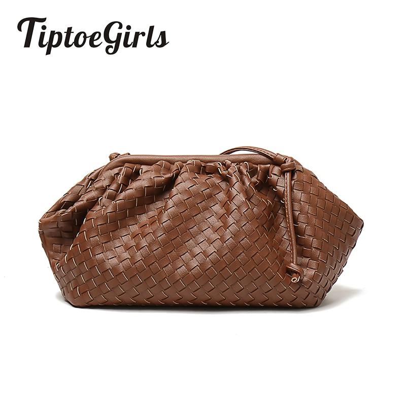 Weave Soft Leather Lady Handbags Fashion Design Women Bags Casual Braid Tote Bags Vintage Hasp Buckle Women Shoulder Bag Plait