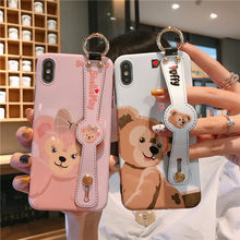 Cartoon Duffy Bär Muster Telefon Fall mit Armband Lanyard fall Für iPhone 6 6s 7 8 Plus X XR XS Max 11 Pro Weiche TPU abdeckung(China)