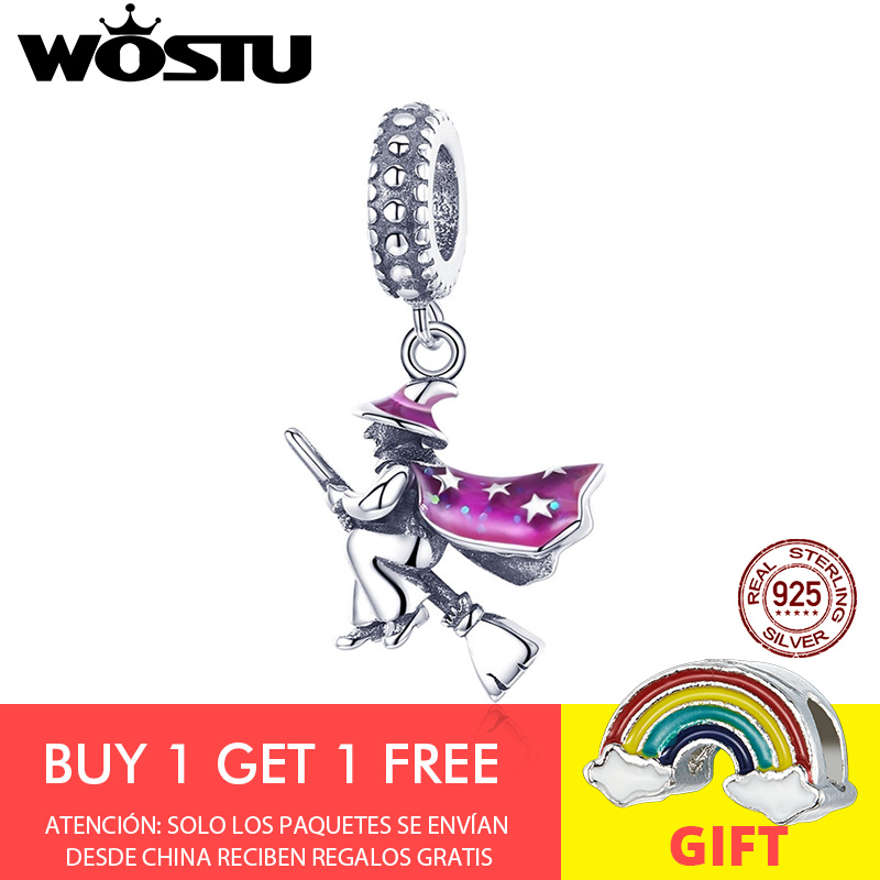 WOSTU High Quality 925 Sterling Silver Magic Witch Dangle Charms fit Original DIY Bracelet Necklace S925 Jewelry Gift CQC914