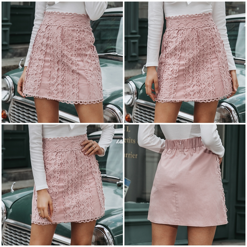 Embroidery Cotton A-Line Mini Bottoms Pink Skirt 1