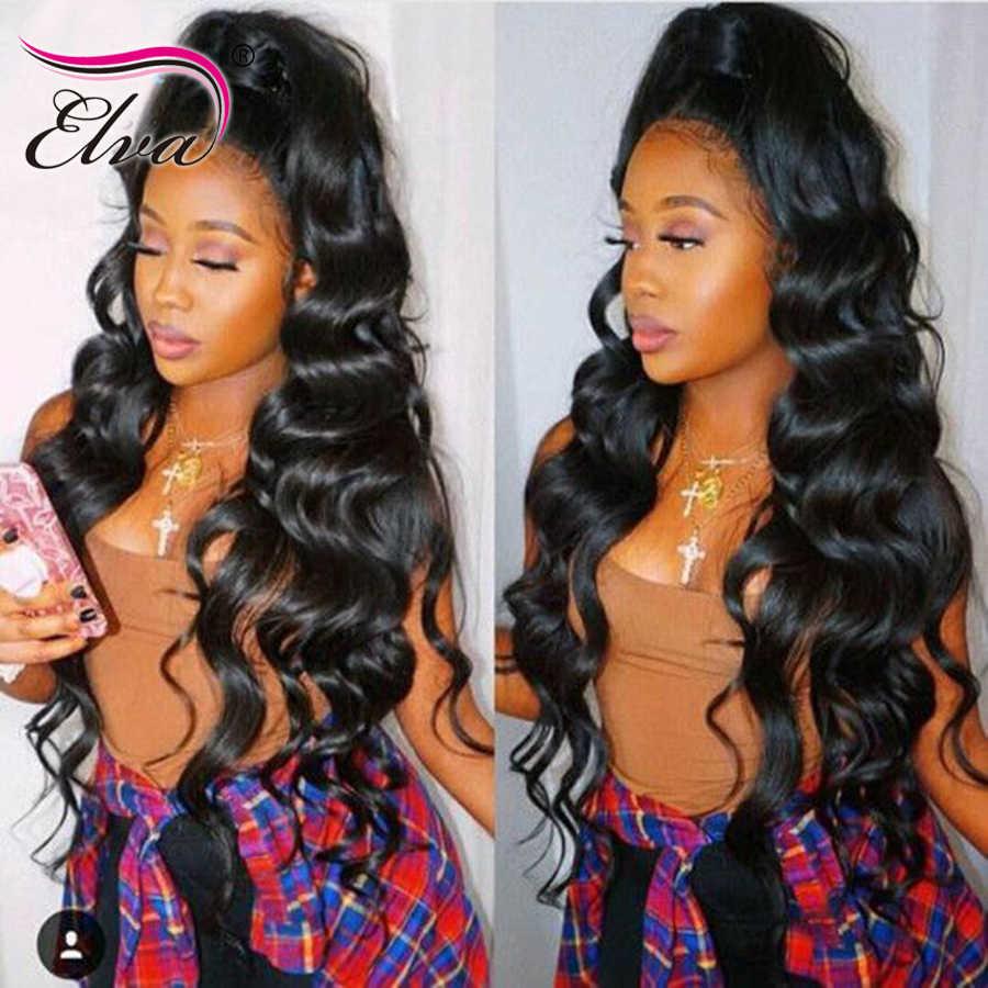 10A 13x6 dantel ön İnsan saç peruk Elva ön koparıp bebek saç ile brezilyalı vücut dalga dantel peruk siyah kadınlar için ağartılmış knot