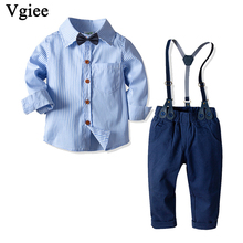 Vgiee Kids Clothes Boys Fall Children Set Striped Full Turn-down Collar Cotton Boy Clothing Wedding Birthday Party CC737 2018 children cotton pajamas set boys girls cardigan turn down collar solid color clothing kids air conditioning suit homewears