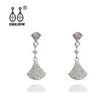 DREJEW Flower Square Sector Rhinestone Statement Earrings 2019 925 Needle Crystal Stud Earrings for Women Wedding Jewelry HE9031 цена и фото