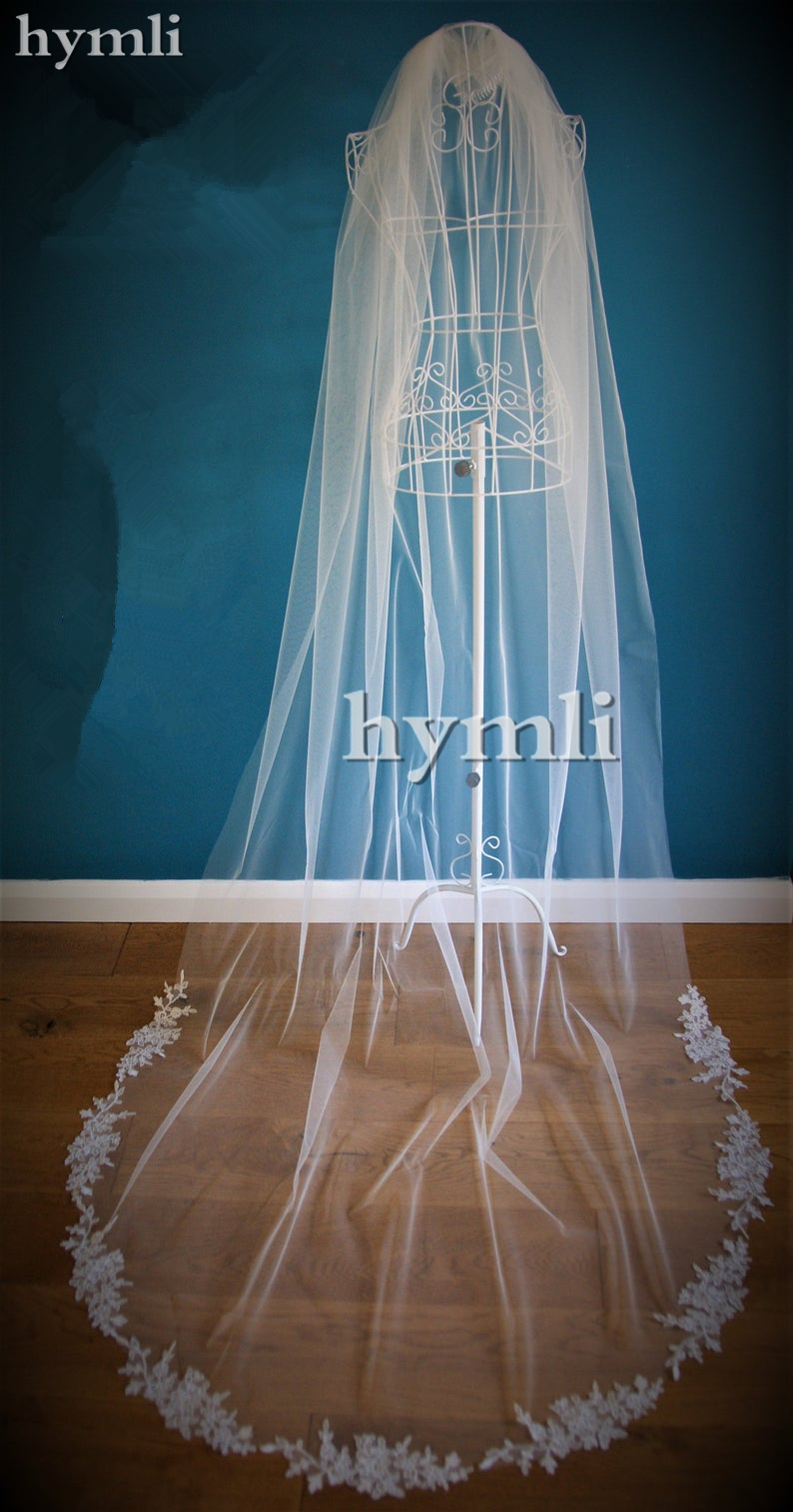 One Layer Lace Applique Wedding Accessories Chapel Veil In White, Off White, Ivory Metal Comb On The Top