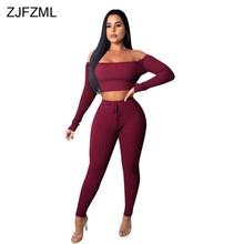 ZJFZML Autumn Winter 2 Piece Tracksuits For Women Off Shoulder Long Sleeve Crop Top+Fitness Pants Solid Knitted Two Piece Suit(China)