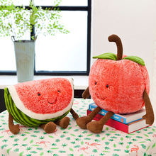 Plush Pillow Cute Smiley Cartoon Watermelon Cherry Toy Fruit Soft Summer Filling Cushion Valentines Day Gift